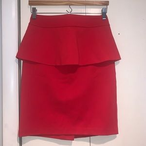 Red Peplum Skirt